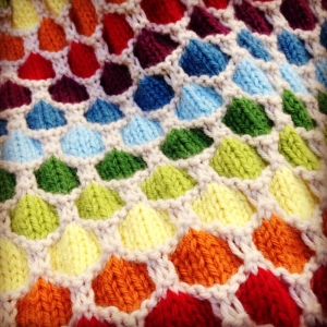 My latest project is a blanket made in a striking honeycomb stitch