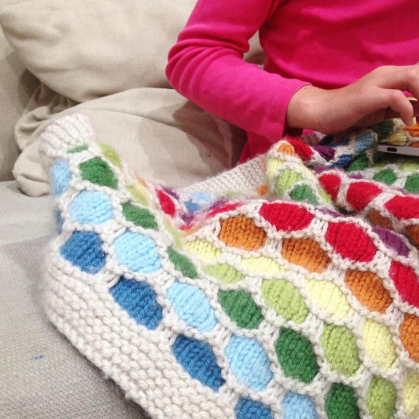 honeycomb blanket rainbow in use